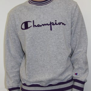CHAMPION – Sweat Contrast Ribbed  Gris