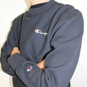 CHAMPION – Sweatshirt Avec Logo Manuscrit Au Dos Marine