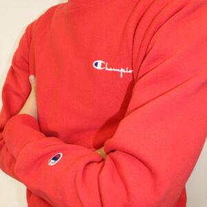 CHAMPION – Sweatshirt Avec Logo Manuscrit Au Dos Rouge