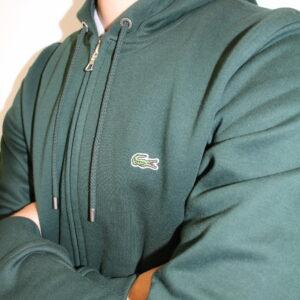 LACOSTE – Sweatshirt Zippé à Capuche Tennis Vert