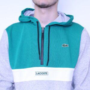 LACOSTE – Sweat Zippé Capuche Vert