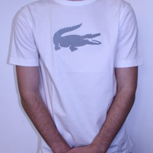 LACOSTE – Tee Shirt Col Rond Blanc