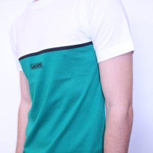 LACOSTE – Tee Shirt Col Rond Color Block Vert