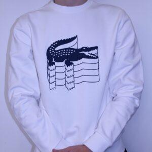 LACOSTE – Sweat Imprimé Crocodile Blanc
