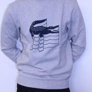 LACOSTE – Sweat Imprimé Crocodile Gris