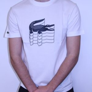 LACOSTE – Tee Shirt Col Rond Broderie Crocodile Blanc