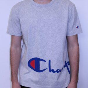CHAMPION – Tee Shirt Grand Logo Manuscrit Gris