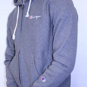 CHAMPION – Sweat Capuche Zippé Avec Logo Manuscrit Capuche Gris