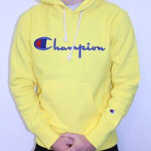 CHAMPION – Sweatshirt Capuche Logo Manuscrit Jaune