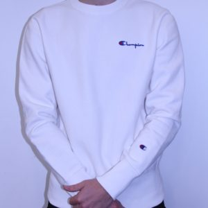 CHAMPION – Sweat Col Rond Brodé Blanc