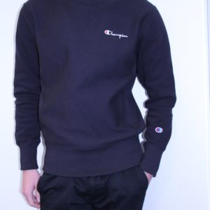 CHAMPION – Sweat Col Rond Brodé Noir