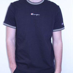 CHAMPION – Teeshirt Col et Bords Rayés Avec Logo Manuscrit Noir