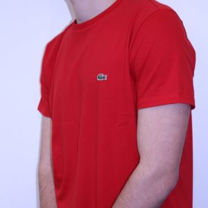 LACOSTE – Tee Shirt Col Rond Coton Uni Rouge