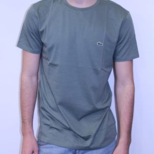 LACOSTE – Tee Shirt Col Rond Coton Uni Kaki