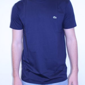 LACOSTE – Tee Shirt Col Rond Coton Uni Marine