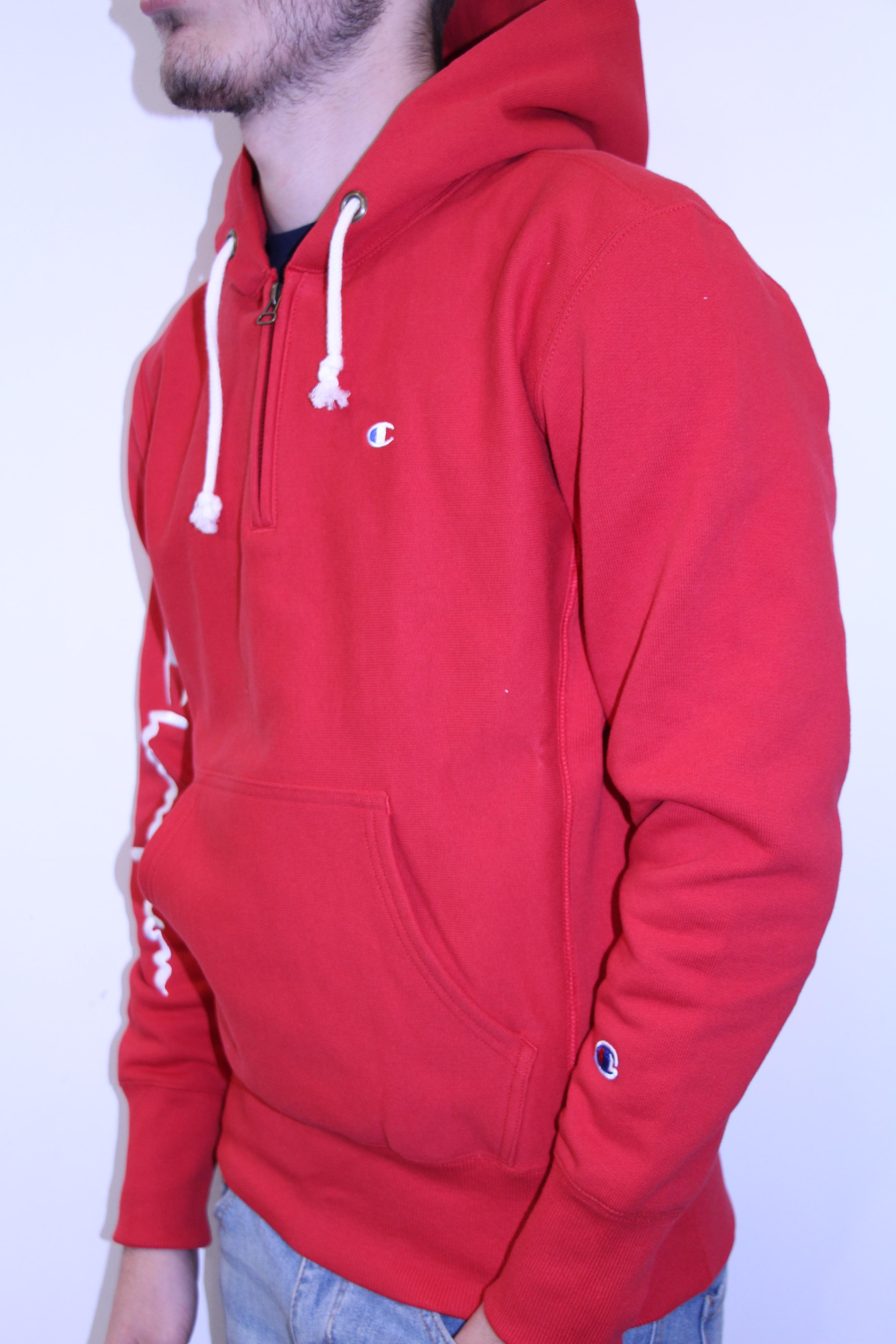 CHAMPION Sweat Zippé Logo Manche Rouge