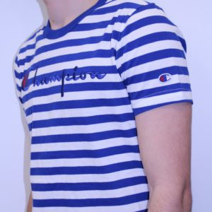CHAMPION – Tee Shirt Rayé Logo Manuscrit Bleu