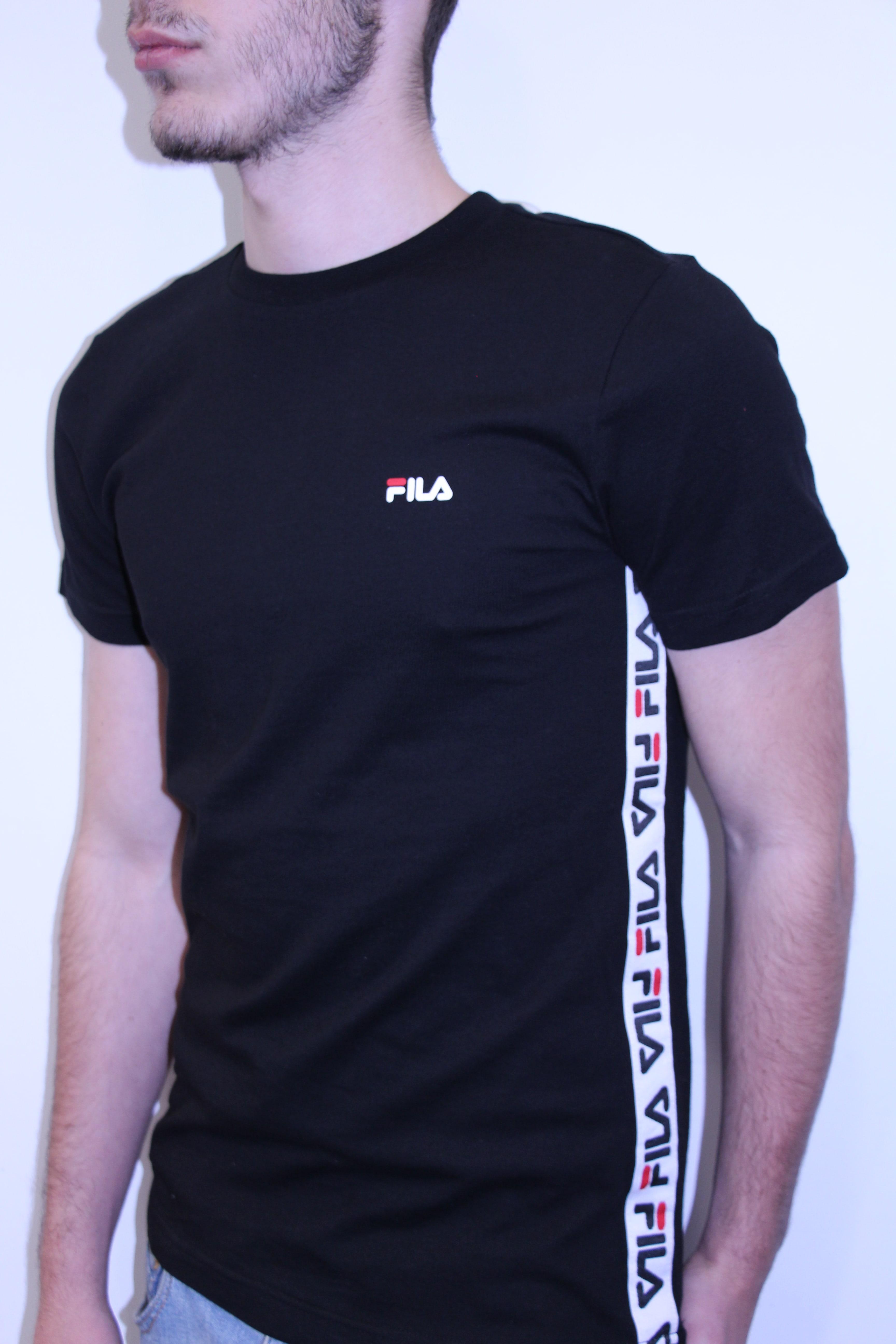 FILA Tee Shirt Bande Brodée Talan Noir SPORT AVENTURE