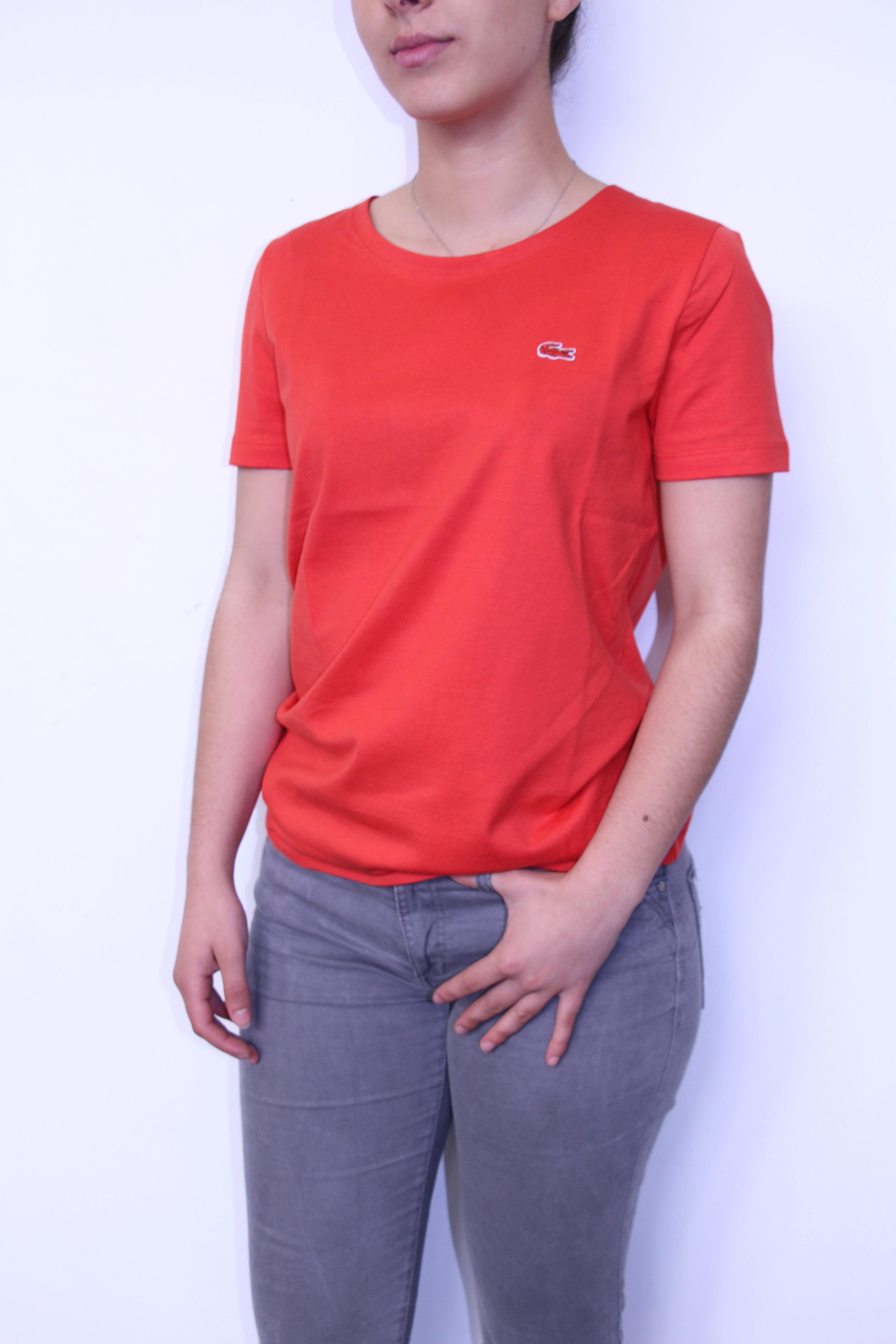 LACOSTE - Tee-Shirt uni Femme Orange