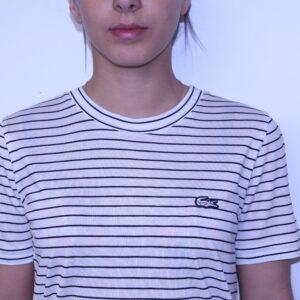LACOSTE – Tee-Shirt Femme Rayé Beige clair