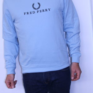 FRED PERRY – Sweat Shirt Brodé  Bleu Glacier