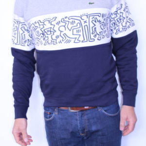 LACOSTE – Sweat Collab Keith Haring Marine Blanc
