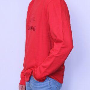 LACOSTE Sweatshirt Col Rond Brodé Rouge