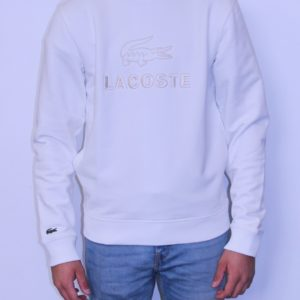LACOSTE Sweatshirt Col Rond Brodé Farine
