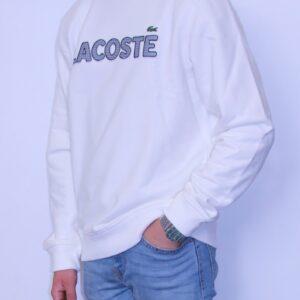 LACOSTE Sweatshirt col rond Brodé Carreaux Farine