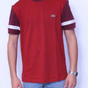 LACOSTE Tee Shirt Color Block Bordeaux