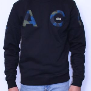 LACOSTE Sweat camouflage col rond  Noir