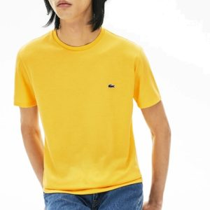 LACOSTE  Tee Shirt Col Rond Coton Pima Jaune