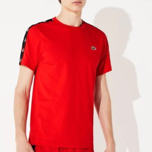 LACOSTE Tee-shirt Bandes Croco Rouge