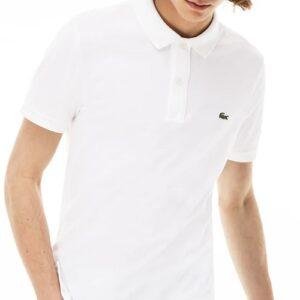 LACOSTE Polo Slim Fit Piqué de Coton Uni Blanc