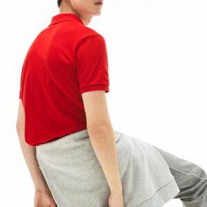 LACOSTE Polo Slim Fit Piqué de Coton Uni Rouge