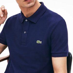 LACOSTE Polo Slim Fit Piqué de Coton Uni Marine