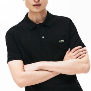 LACOSTE Polo Slim Fit Piqué de Coton Uni Noir