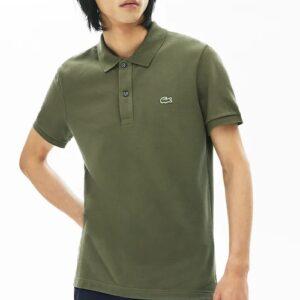 LACOSTE Polo Slim Fit Piqué de Coton Uni Vert Kaki