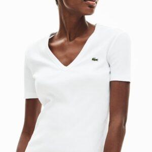 LACOSTE Tee Shirt Col V Coton Blanc