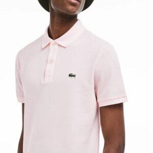 LACOSTE Polo Slim Fit Piqué de Coton Uni Flamant rose