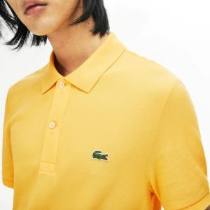 LACOSTE Polo Slim Fit Piqué de Coton Uni Jaune