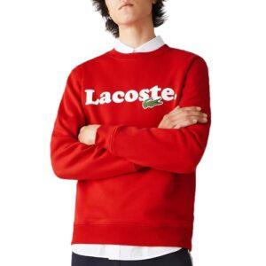 Sweatshirt marquage LACOSTE en molleton rouge
