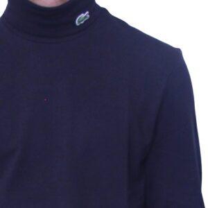 LACOSTE Col roulé coton piqué marine