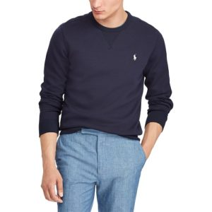 RALPH LAUREN Sweat en maille double navy