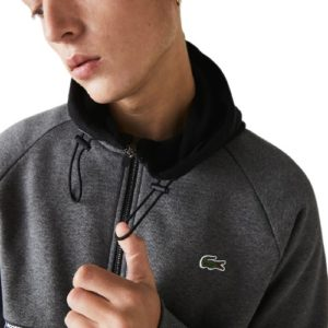 LACOSTE Sweat zippé molleton bitume