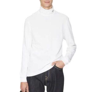 LACOSTE Col roulé coton piqué blanc