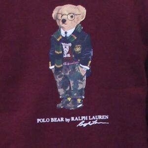RALPH LAUREN Sweat Polo Bear molleton bordeaux
