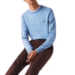 LACOSTE Pull laine mérinos bleu chiné