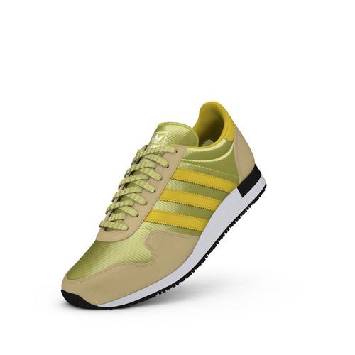 chaussures ADIDAS ORIGINALS USA 80 modèle rétro beige jaune sneakers mode sport aventure à Orange
