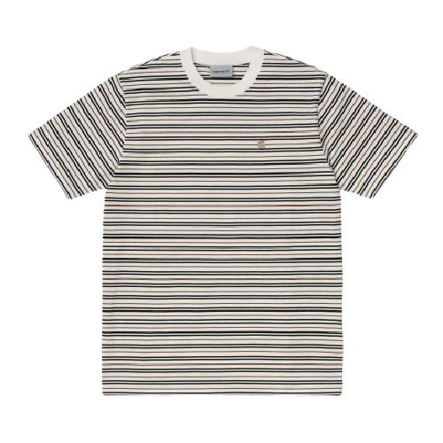 t-shirt Carhartt wip coton rayé beige mode magasin sport aventure à Orange